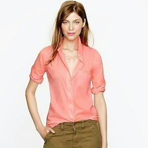 J. Crew Boy Shirt Button Down Neon Coral Pink 2